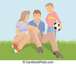 young család, fű