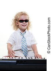 Young curly haired jewish caucasian toddler boy