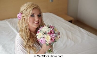 Young curvy woman in lingerie with bouquet - Young sexy...