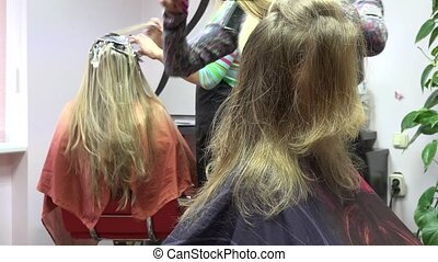 young customer woman make new hairstyle in beauty hair...