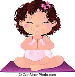Young Cute Attractive Pregnant Woman Practicing Yoga. -...