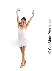 young cute ballet dancer on white background