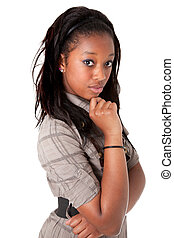 Young cute black woman thinking