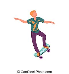 Young cute blonde hair boy dancing on his skateboard
