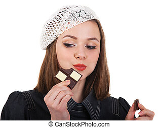 Young cute brunette girl with chocolate