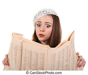 Young cute brunette girl with newspaper