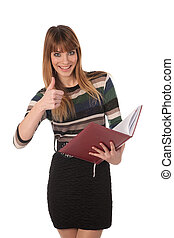 Young cute business woman with a book in her hands