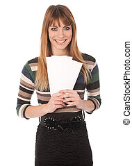Young cute business woman with coupons in her hands
