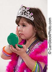 Young cute caucasian toddler girl playing