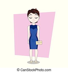 Young Cute Girl Woman In Elegant Dress Full Length Vector...