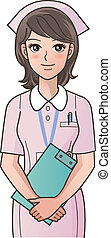 Young cute nurse with clipboard smiling, putting the hands ...