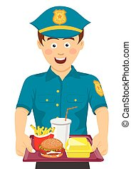 Young cute policeman holding a tray with fast food