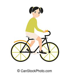 Young cute smiling girl riding bicycle. Cheerful child bicyclist pedaling urban bike isolated on white background. Sports activity for kids. Colorful vector illustration in flat cartoon style.