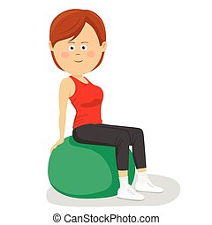 Young cute woman sitting on a yoga ball isolated over white...