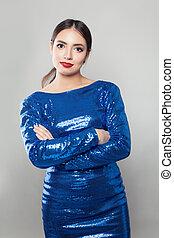 Young cute woman wearing blue dress