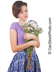 young cute woman with flowers