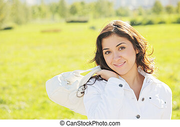 Young cute woman with white bag
