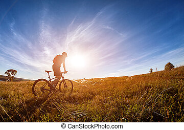 Young cyclist with mountain bicyclist on the path of the ...
