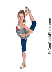 Young dancer do exercises