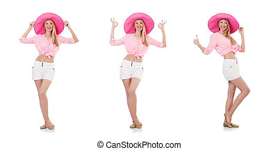Young dancing model in panama hat isolated on white