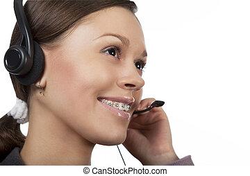 call center - young dark hair caucasian call center operator...