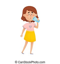 Young Dark-haired Girl Character Standing and Drinking Still Water From Glass Vector Illustration