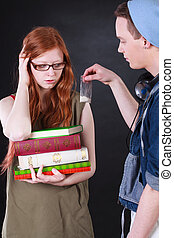 Young dealer selling bag with cocaine - Young dealer selling...