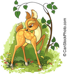Young deer - Cute animal character for your design. The...
