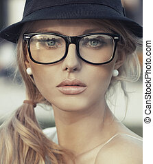 Young delicate woman with fantastic lips