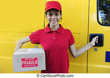 delivery courier or mailman delivering postal packages -...