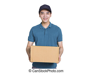 Young  delivery man holding carton package isolated on white