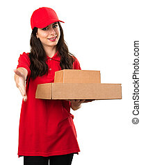 Young delivery woman making a deal