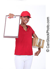 Young delivery worker