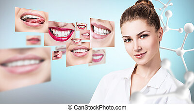 Young dentist doctor near collage of healthy beautiful smiles.