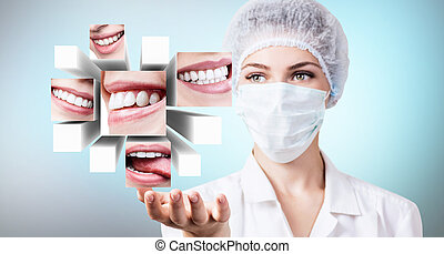 Young dentist doctor presents collage of healthy beautiful smiles.