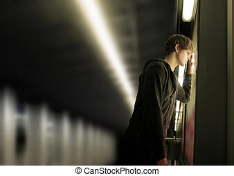 Young depressed man - Portrait of a young depressed man in ...