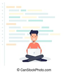 Young developer sitting with a laptop on the background of program code. Happy man. Isolated vector illustration in flat style