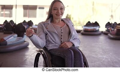 Young disabled invalid handicapped woman dancing in in...