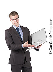 Young dissatisfied man is pointing to a file
