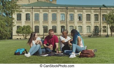 Young diverse students having snack on campus lawn - Group...