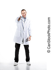 young doctor in white coat looking at camera with thumb up isolated on white