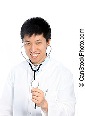 Young doctor listening with a stethoscope