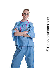 young doctor or nurse on white