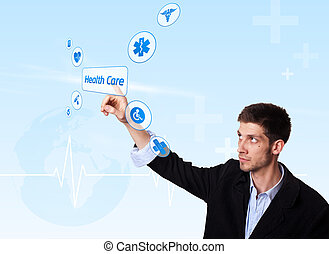 Young doctor pressing Health Care button