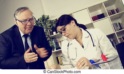 young doctor stressed by boss