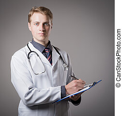 young doctor with a clipboard