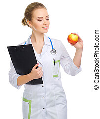 Young doctor with apple isolated