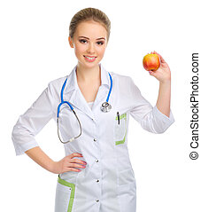 Young doctor with apple