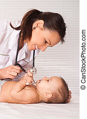 young doctor with baby