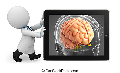 Young doctor with brain anatomy - Illustration of young ...
